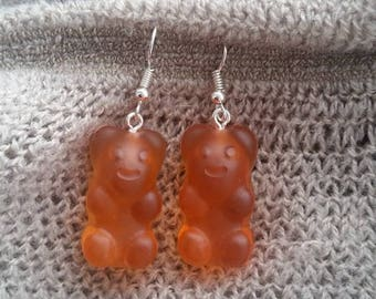 Orange candy bear resin earrings
