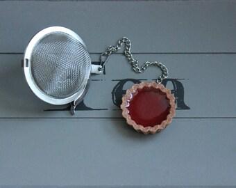 Ball tea Infuser, stainless steel round tart Strawberry resin