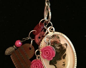 Victorian pendant with shrinky dink charms snd buttons
