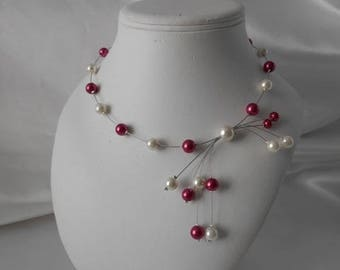 "Wedding necklace ""CORA"" Pearl ivory & pink"