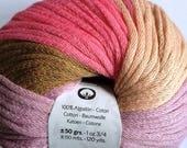 fil coton chiné à crocheter ou tricoter  BARI coloris rose-parme N°79 de KATIA
