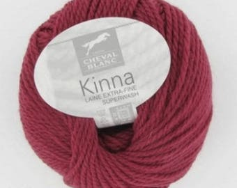 Wool knitting KINNA 100% wool Ruby No. 305 white horse