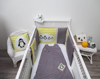 "Bumper baby yellow and grey ""penguins family"""
