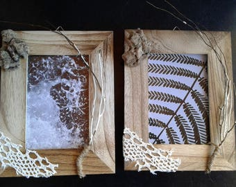 2 frames, driftwood and seaweed