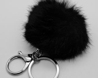 "Keychain ""hair ball"" black"
