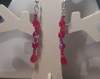 Earrings - drops of rain red