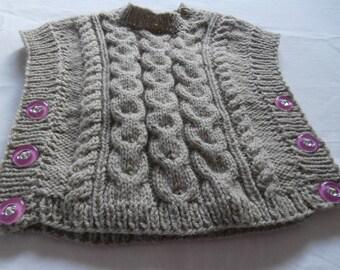 2 years sleeveless sweater, handknitted for girl
