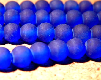 65 beads glass frosted 6 mm - blue royal PF84 6