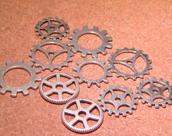 10 charms gear COG steampunk pendant - silver of 18.5 mm to 25 mm - B04