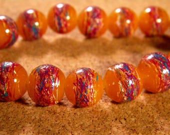 glass 12 mm orange 2 PE192 trefilee 10 beads