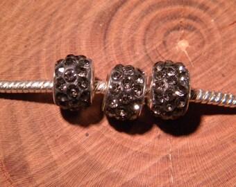 3 Pearl rhinestone to pandor style bracelet European @ trollbeads - gray - 12 x 7.5 mm D101