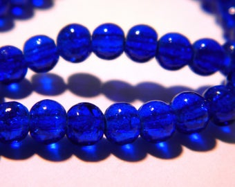 100 beads Crackle Glass 4 mm - Crackle glass - glass bead - 4 mm - royal blue - 3 G97