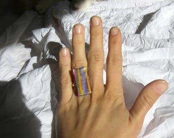 Ring fimo rectangular, Celadon, golden highlights