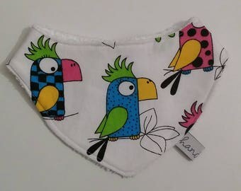 Bandana bib for baby - exotic birds motif - handmade