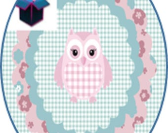 1 cabochon glass 25mm x 18mm OWL theme