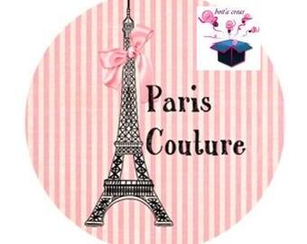 1 cabochon clear 20mm paris couture theme