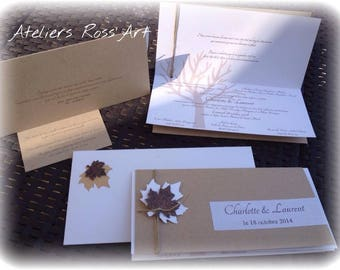 Handmade kraft theme chic wedding invitation fall nature