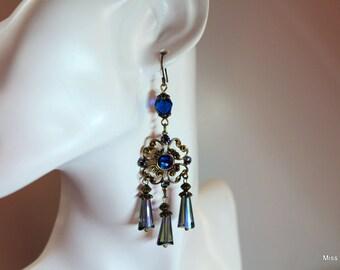 Brass crystal earrings blue Swarovski elements