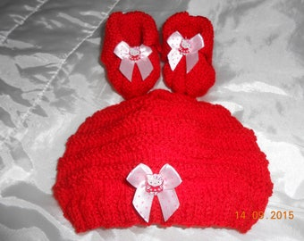 Hat booties 0/3 months