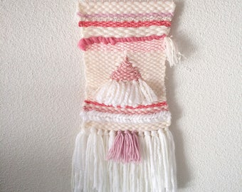 Woven wall weaving modern Bohemian boho bedroom girl colors: white and pink