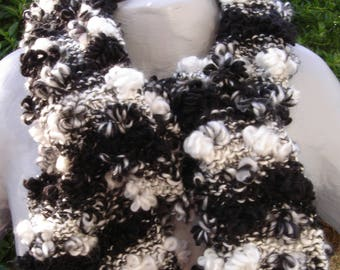 chic black and white flower scarf