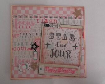 double star 'happy birthday' card