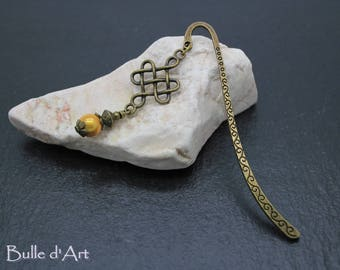 "Bookmark ""Chinese knot"" and yellow bead"