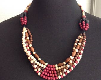 African style wooden beads necklace
