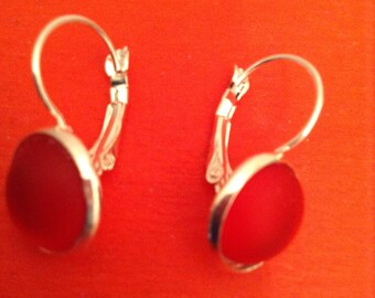 Cabochon and Silver earrings
