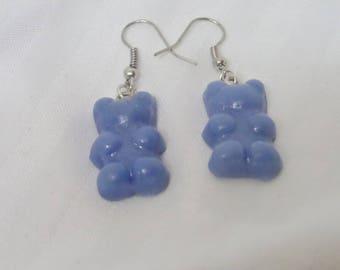 Sweet blue Teddy bear earrings