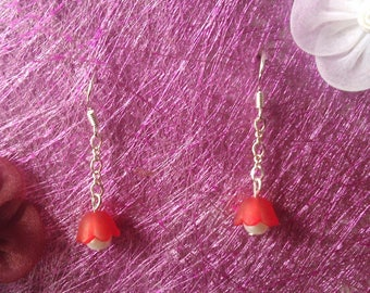 Red and white Bell Flower Earrings