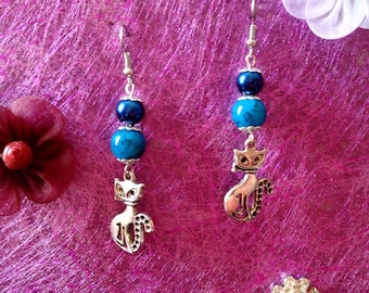 Blue Pearl and cat earrings
