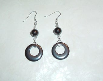 Hematite earrings and sterling silver