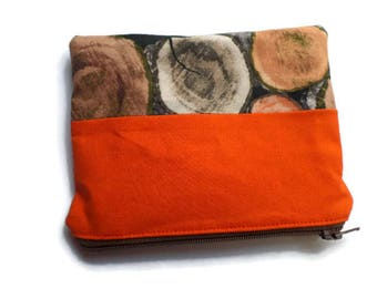 Fabric Small Bag Orange and Wood Print, Pencil Case, Multi-use Bag, Toiletries Pouch, Documents Holder, Fully Lined, Zippered, Unisex