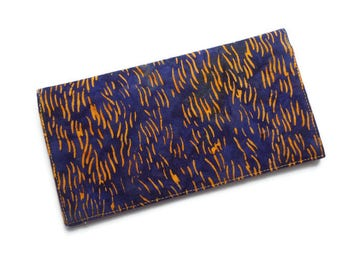 "Batik Fabric Checkbook Cover 6.5""x3.5"", Coupons Wallet, Cash Holder, Blue and Orange"
