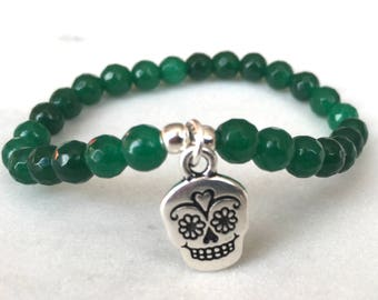 Sugar Skull Bracelet | Beaded Bracelet | Green Agate | Day of the Dead Bracelet | Skull Jewellery | Skull Jewelry | Agate Jewelry | Gifts