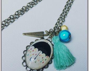 Necklace glass cabochon, weather, rain, umbrella, retro necklace, vintage, Pompom, beads