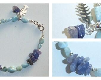 Stones semi precious and silver, blue and green, Bohemian bracelet