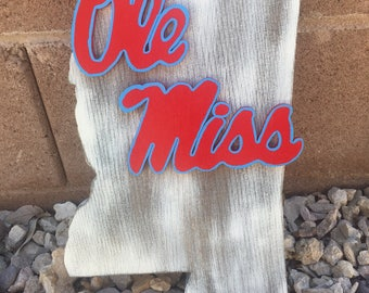 "Wooden Mississippi ""Ole Miss"" Sign"