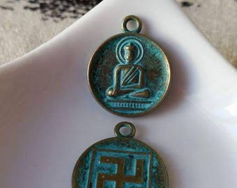 Antique bronze Buddha pendant charm