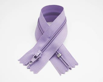Zip closure, 18 cm, pastel purple, not separable