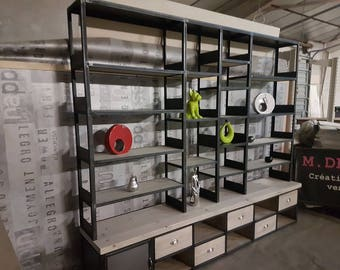 Low industrial bookcase Cabinet