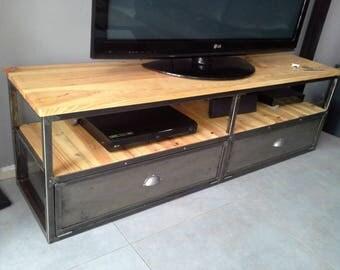 Cabinet industrial metal tv gilt wood