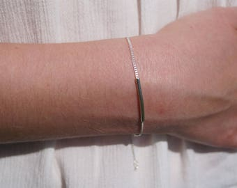 Silver tube bracelet