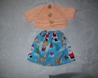 clothes for dolls 32 33 cm, with babies (cotton skirt printed on the theme of Christmas with a vest or sweater)