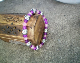 Pink and purple glass beads and silver pearl bracelet