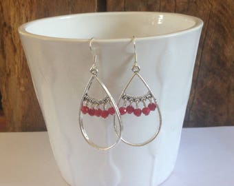 Ethnic spirit red and Silver earrings