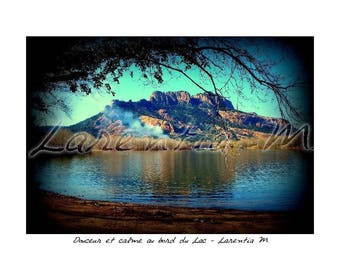 Photo 30X40cm reflection of the rock of Roquebrune in the Lake of the Arena