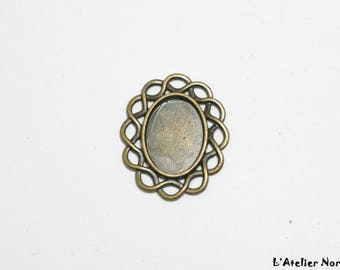 Oval cabochon 13mm x 18mm antique bronze metal support
