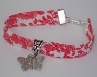 Bracelet Liberty Red and White Butterfly